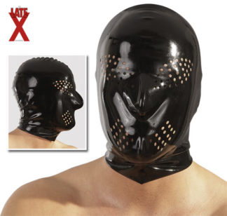 Latex Kopfmaske schwarz Perforation